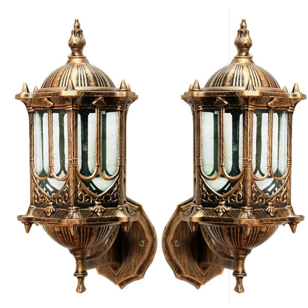 Vintage antique brass wall lantern garden lighting decor exterior sconce lamps ebay for Exterior light sconce