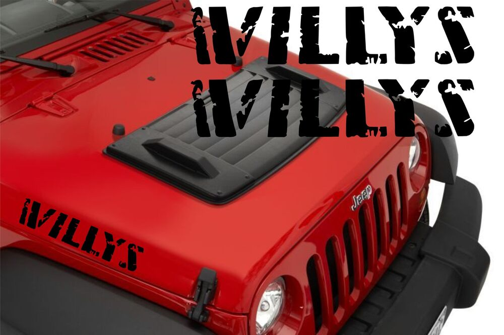 Jeep Tj Parts >> 2x Jeep Wrangler Willys Hood Decal Stickers graphics | eBay