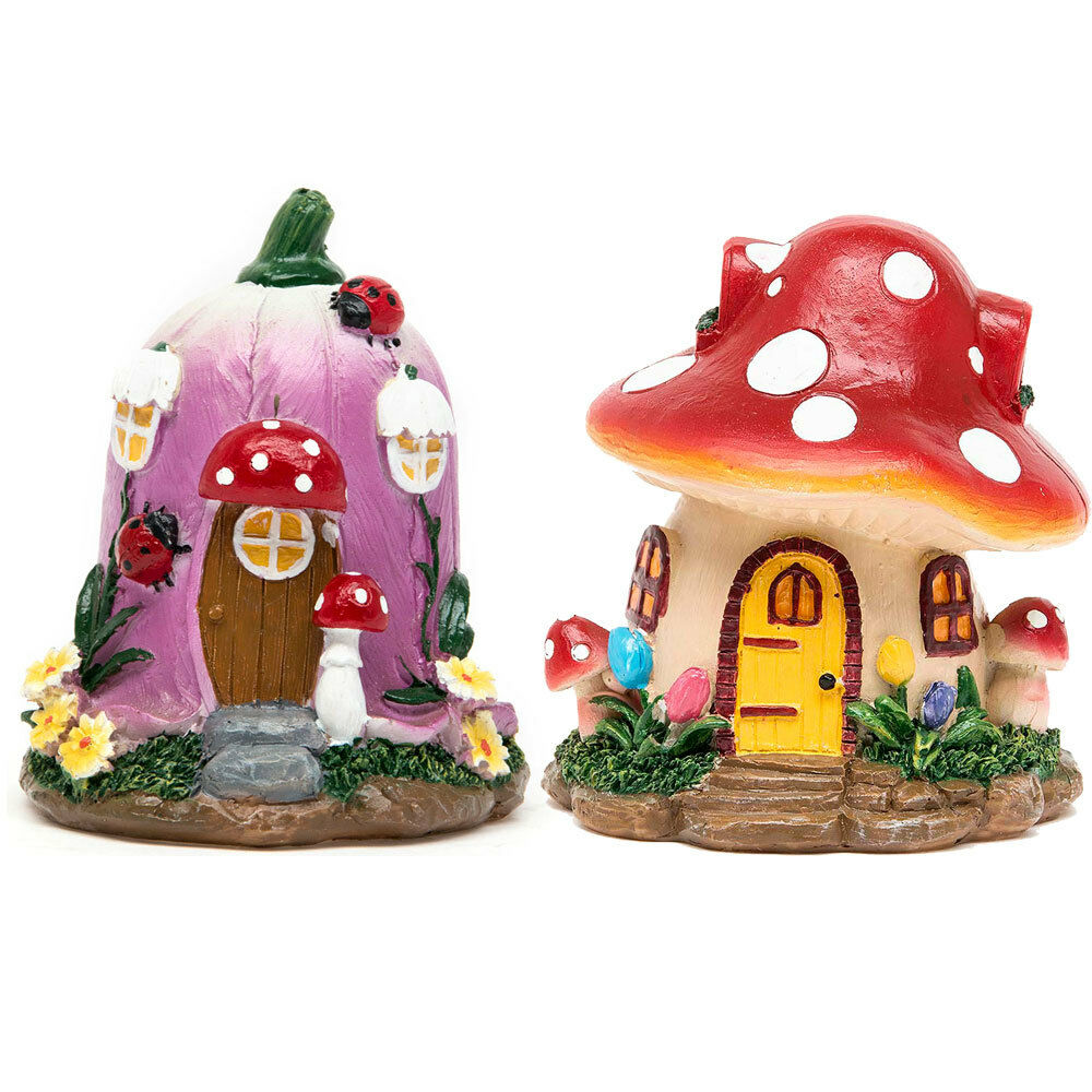Mushroom miniature flower garden ornament fairy dollhouse for Garden ornaments and accessories