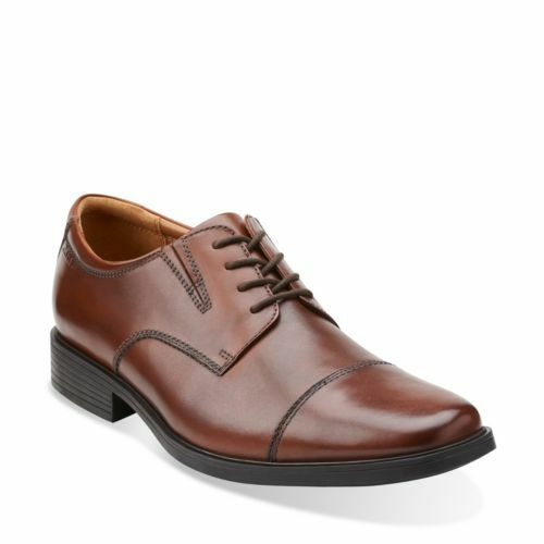 clarks mens tilden cap oxford lace up dress casual brown