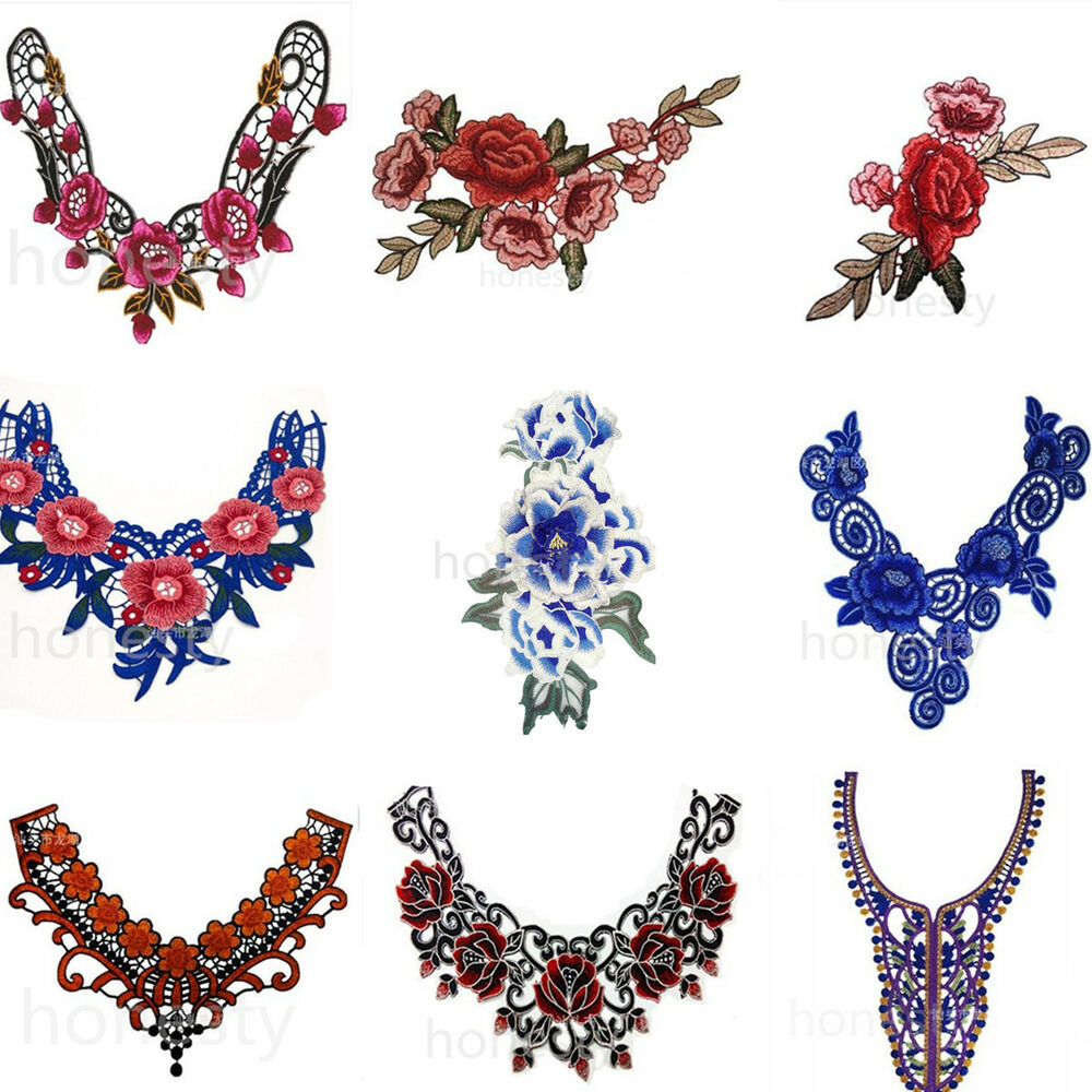 Flower floral guipure collar lace trim embroidered neck