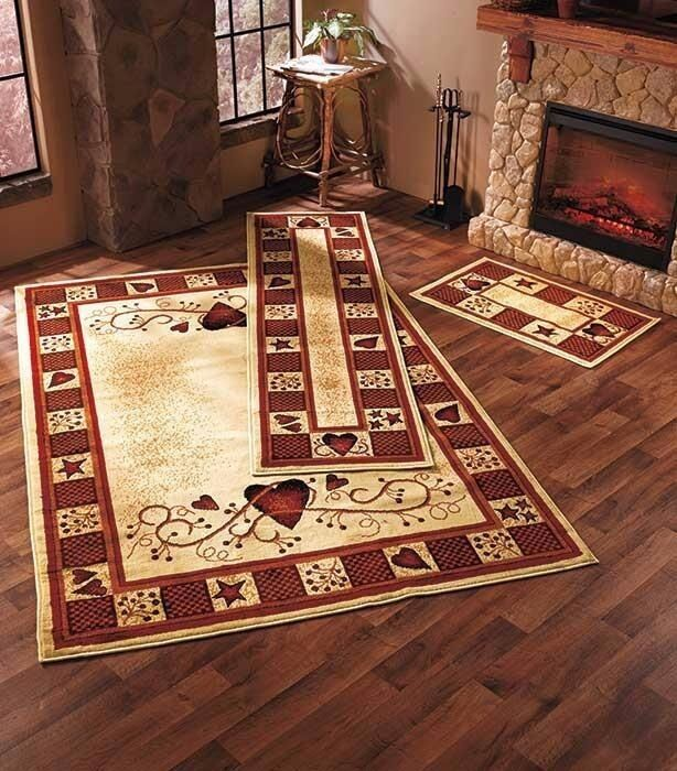 Rustic Rug Country: Rug Set Hearts Berries Country Rustic Primitive Cabin Farm