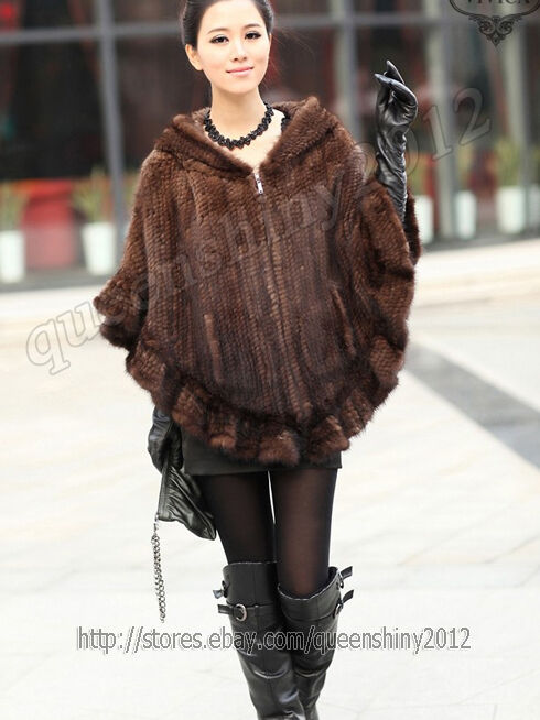 New 100 real knitted mink fur stole cape poncho scarf coat hoody women winter ebay - Polsterstoffe fur stuhle ...