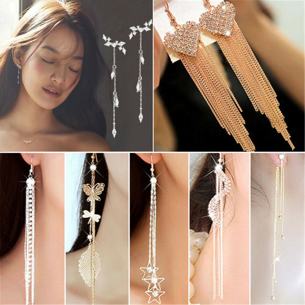 Fashion Long Korean Style Tassel Leaves Crystal Rhinestone