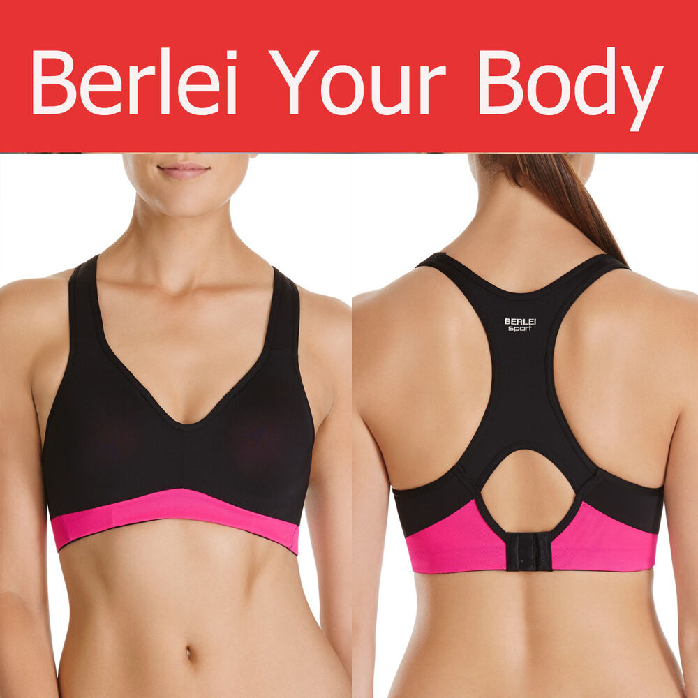 7cbd1d35b5af0 Details about AUTHENTIC WOMENS BERLEI ELECTRIFY BLACK PINK UNDERWIRE SPORTS  CROP TOP GYM BRA