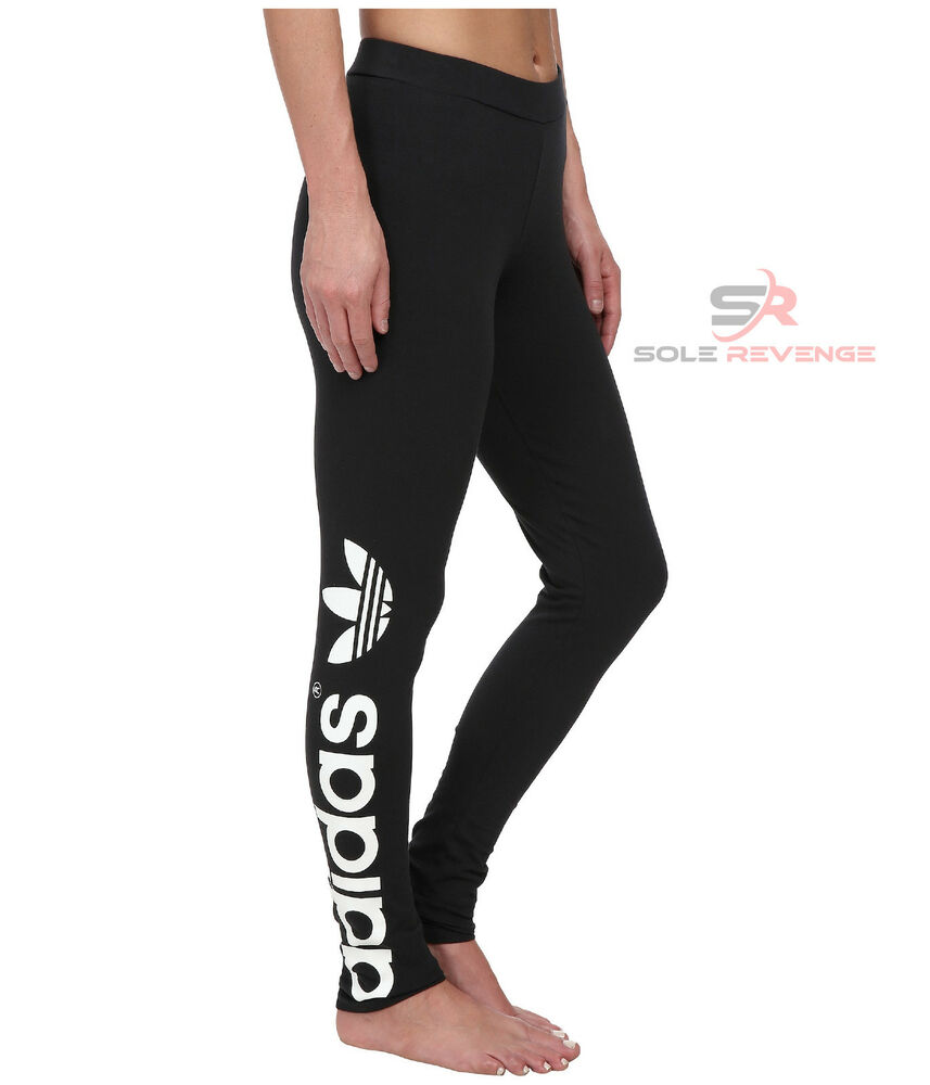 New Adidas Originals Black Big TREFOIL LEGGINGS AJ8081 Basic PB Womens Linear | eBay
