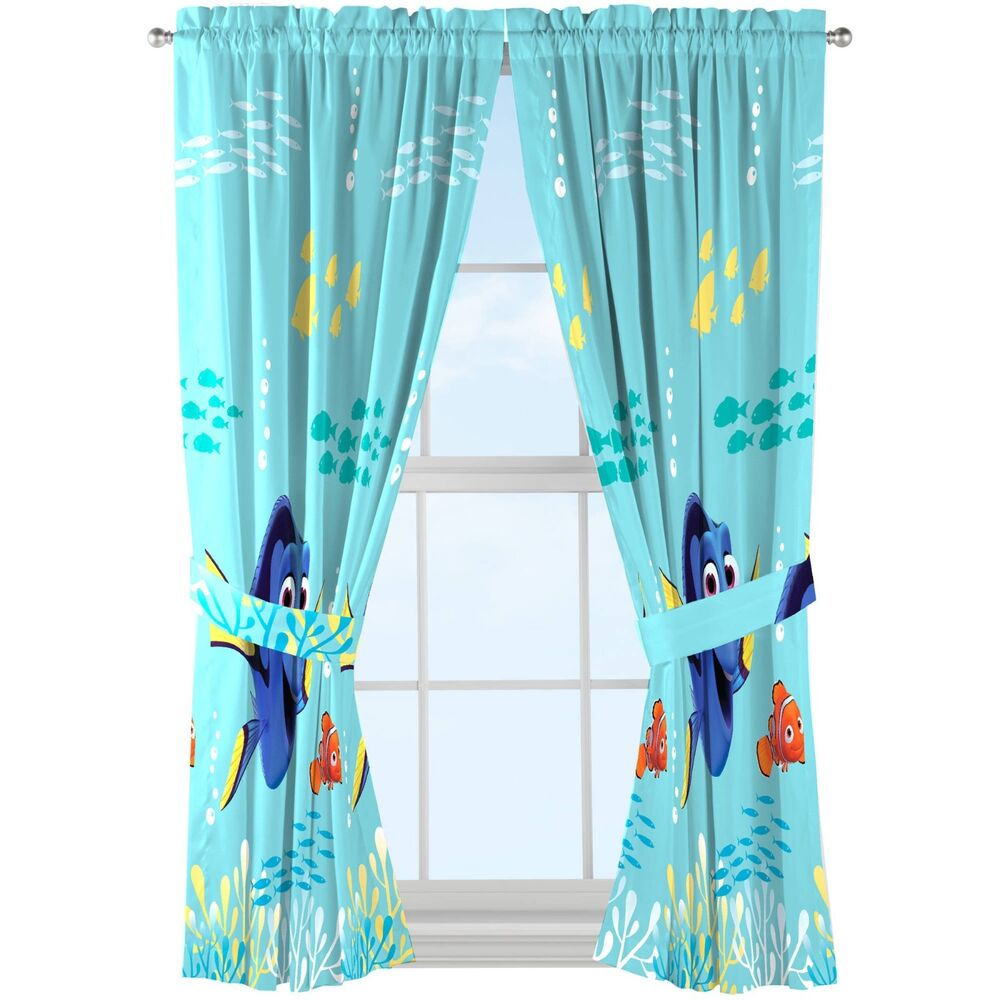 Disney finding dory drapes set of 2 ebay for Kids rooms curtains
