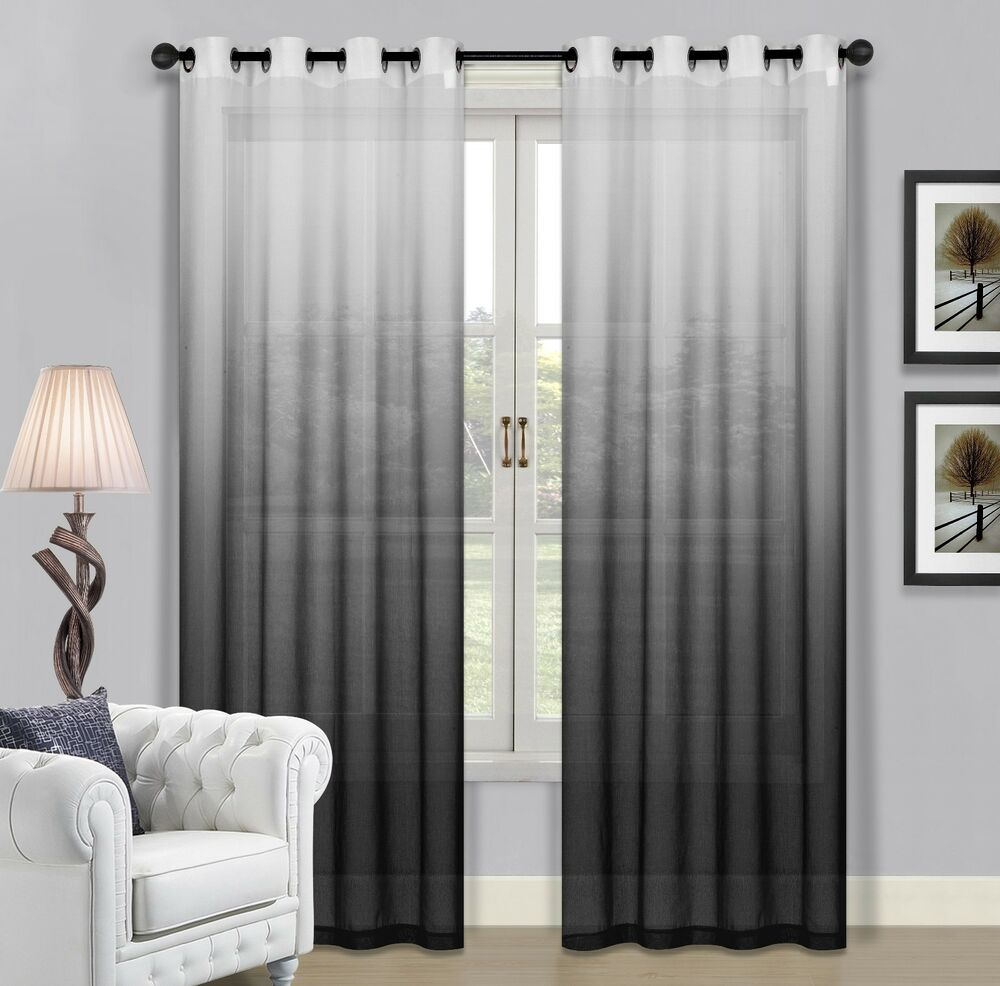 Beverly Hills Ombre Sheer Grommet Window Panels A Pair Of