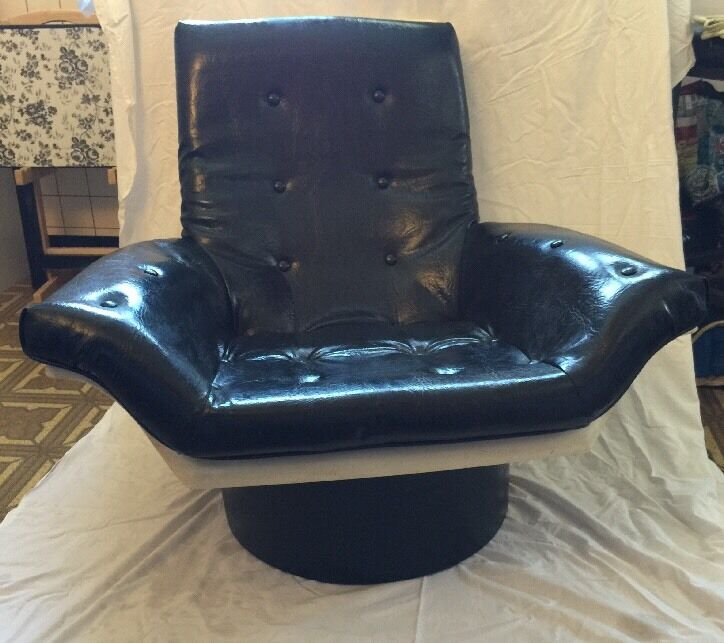Black Futorian Atomic Lounge Chair Molded Plastic Space