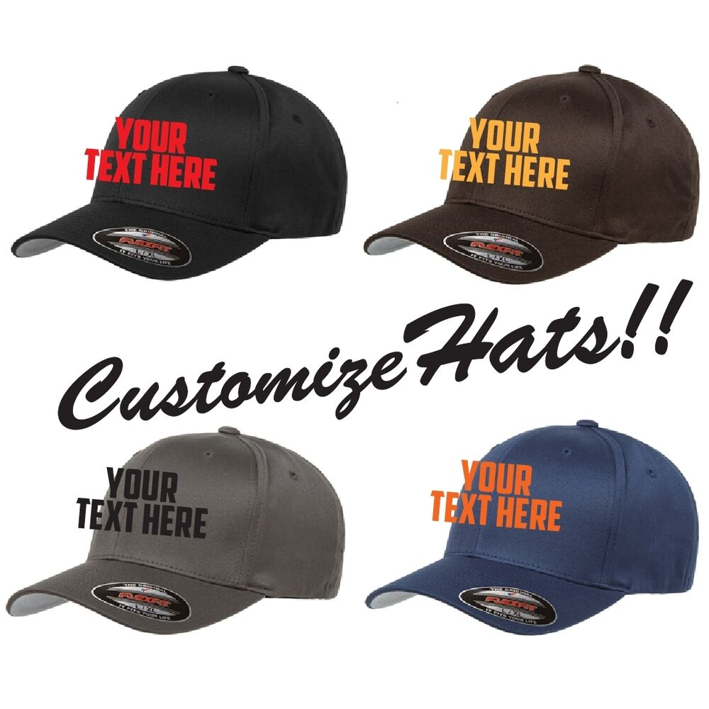 6756a98d1a3 Details about CUSTOM EMBROIDERY Personalized Customized Flat Yupoong  Flexfit Fitted Cap 6277