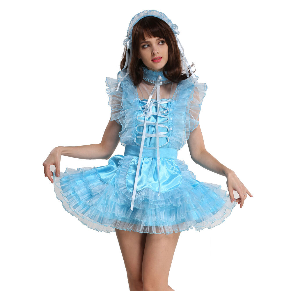 Blue Dress With Stockings And Blue Shoes