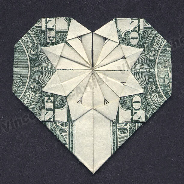 money origami heart folding instructions included