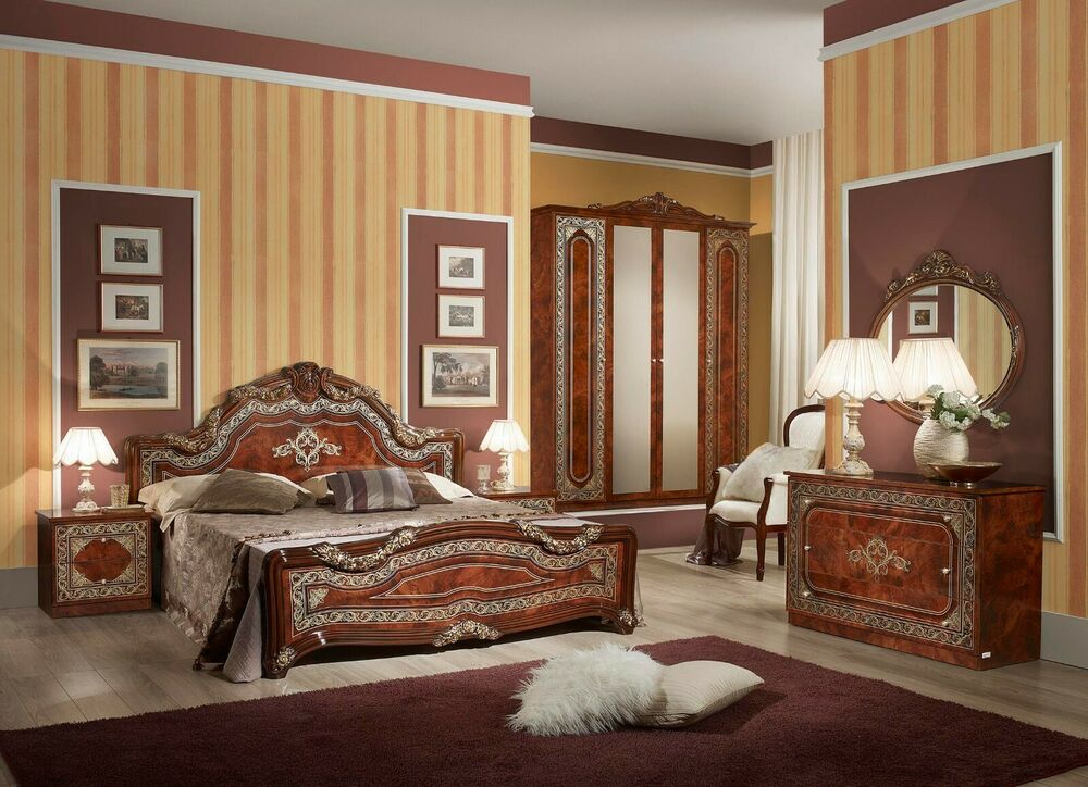 neu klassik barock schlafzimmer set 6tlg walnuss stilm bel italia hochwertig ebay. Black Bedroom Furniture Sets. Home Design Ideas