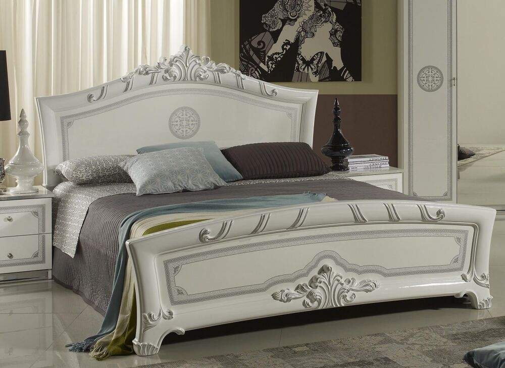 bett gala cremewei barockstil 160x200 ebay. Black Bedroom Furniture Sets. Home Design Ideas