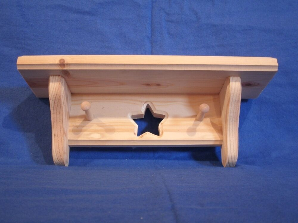 rustic country pine wooden shelf with star pegs 12 in walnut stain wall shelf ebay. Black Bedroom Furniture Sets. Home Design Ideas