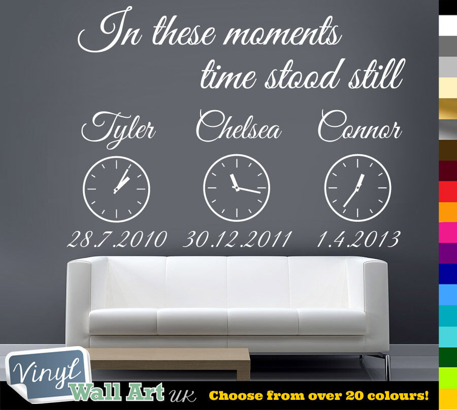 in These Moments Time Stood Still + Clocks Vinyl Wall Art ...