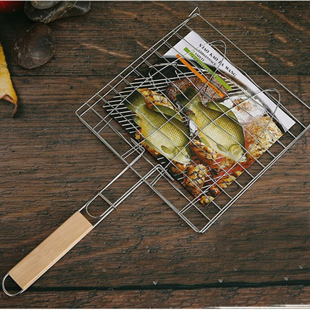 Bbq net barbecue fish grid grilling basket folder tool for Bbq fish grill