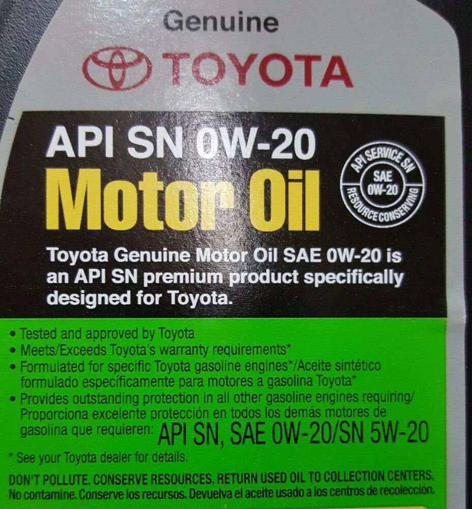 Genuine toyota lexus 0w20 motor oil qty 12 quarts in a for Sae 0w 20 synthetic motor oil