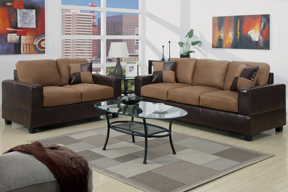 5pc modern micro suede sofa and love seat living room furniture set brown tan ebay for Microsuede living room furniture