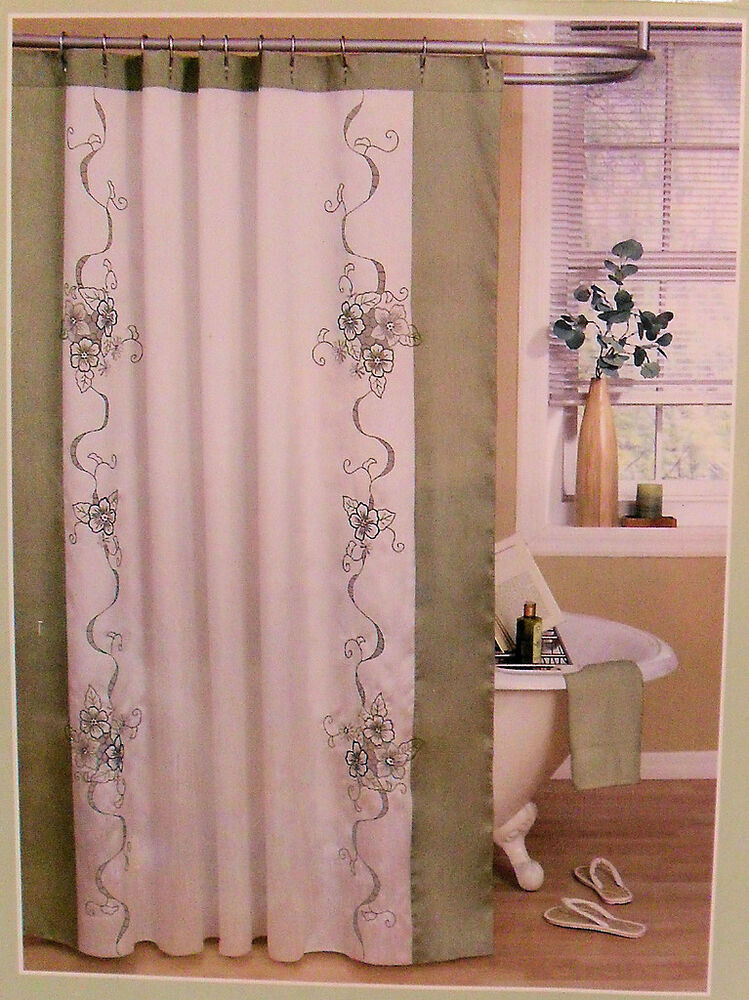 Floral Shower Curtain Sage Green White Beautiful Hibiscus 70 X 72 New Ebay