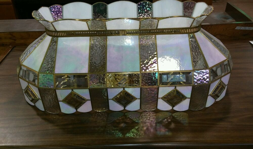Vintage Stain Glass Stained Hanging Ceiling Iridescent