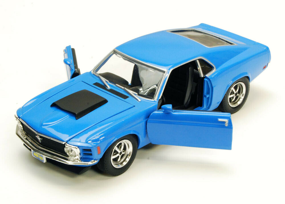 1970 ford mustang boss 429 blue motormax 73303 1 24 scale. Black Bedroom Furniture Sets. Home Design Ideas