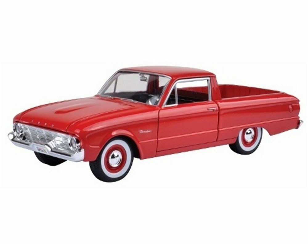 1960 ford ranchero pickup truck red motormax 79321 1 24 scale diecast model car ebay. Black Bedroom Furniture Sets. Home Design Ideas