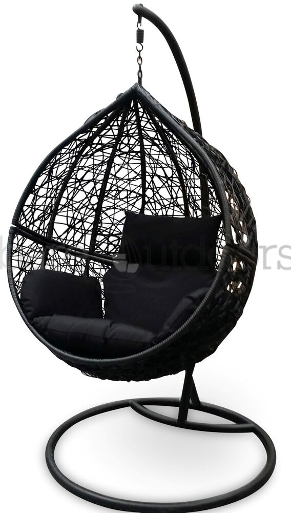 outdoor swing hanging egg pod chair black wicker w
