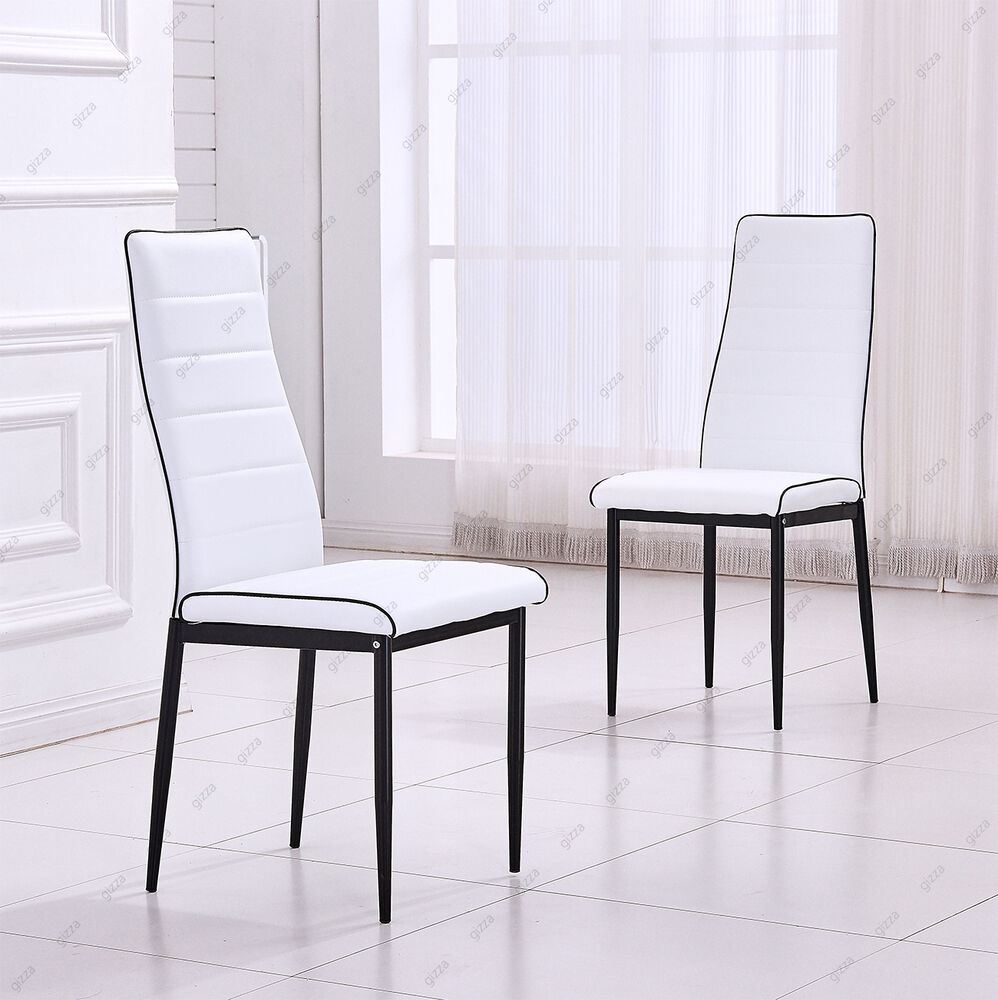 Shop Dark Brown Metal Frame Faux Leather Kitchen And: 2x White Faux Leather Dining Chairs Black Metal Legs Foam