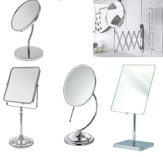 Shaving make up bathroom mirror adjustable round square free standing wall mount ebay for Free standing bathroom mirrors