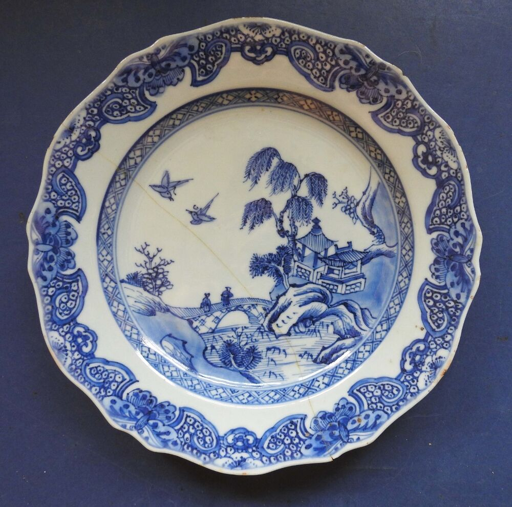Chinese Porcelain Plates : Chinese porcelain blue white plate landscape th