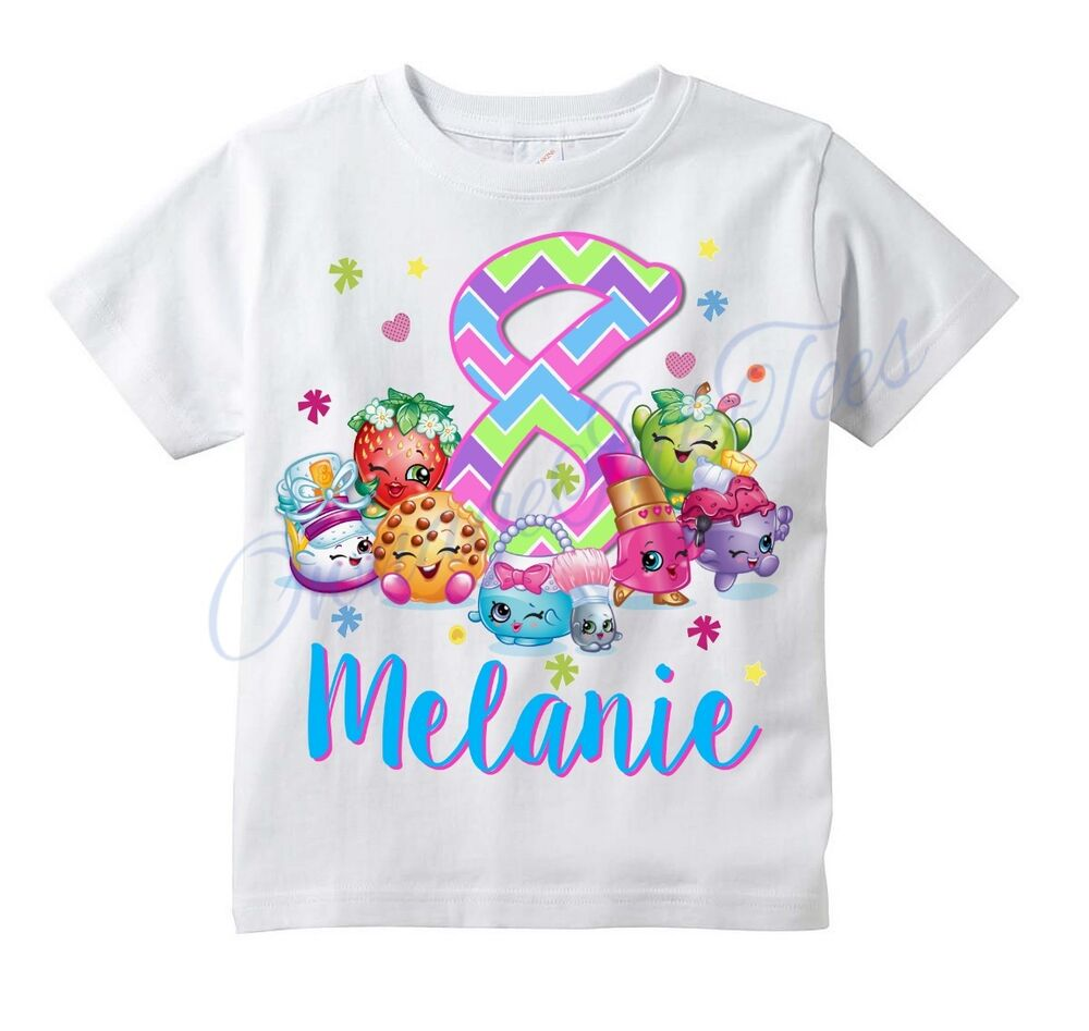 Birthday Gifts By Age: NEW Shopkins CUSTOM T-shirt PERSONALIZE Birthday Gift