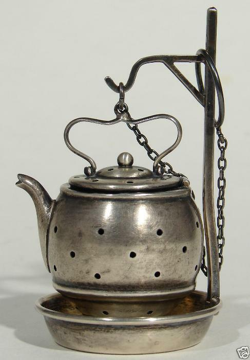 Webster Sterling Silver Tea Infuser Strainer Teapot With Chain And