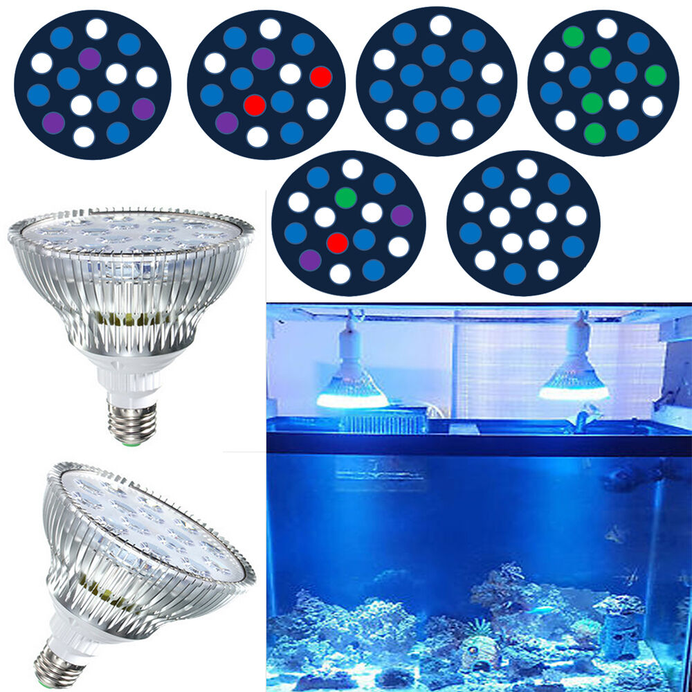 45w E27 Led Aquarium Light Fixture Par38 Coral Reef Lamp Led Bulbs For Lps Sps Ebay