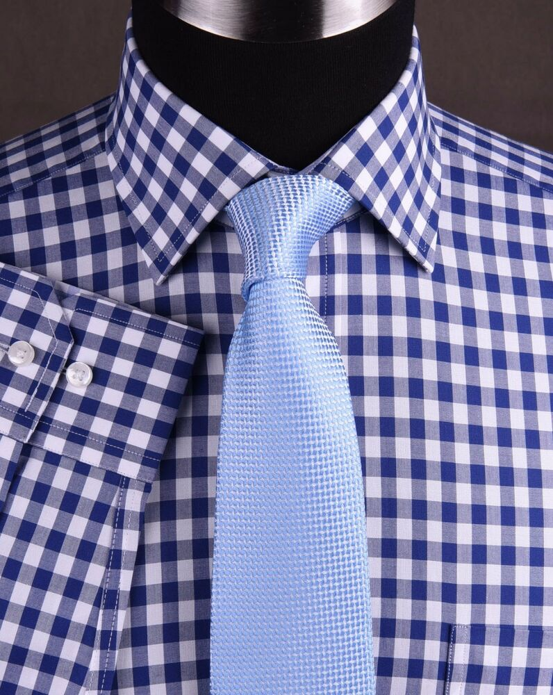 Blue gingham check formal dress business shirt french for Blue check dress shirt