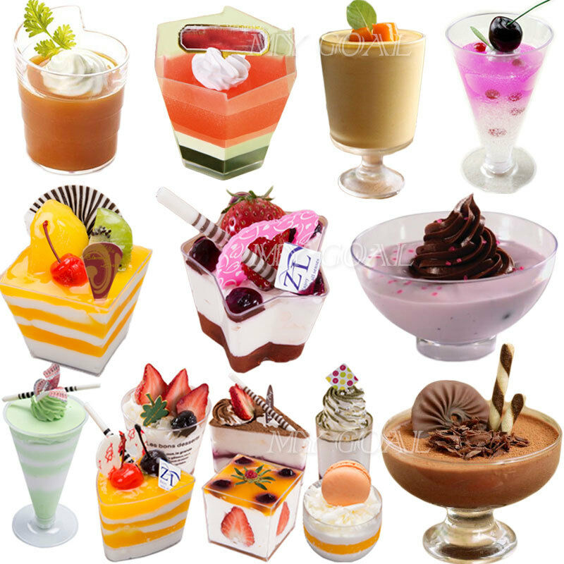 Mousse cake dessert cups canape dishes clear plastic jelly for Disposable canape dishes