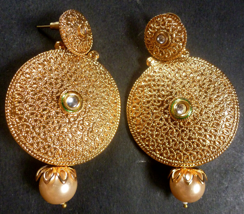 Indian Gold Plated Stones Kundan Necklace Earrings Party: South Indian Antique Gold Plated CZ Kundan Polki Wedding