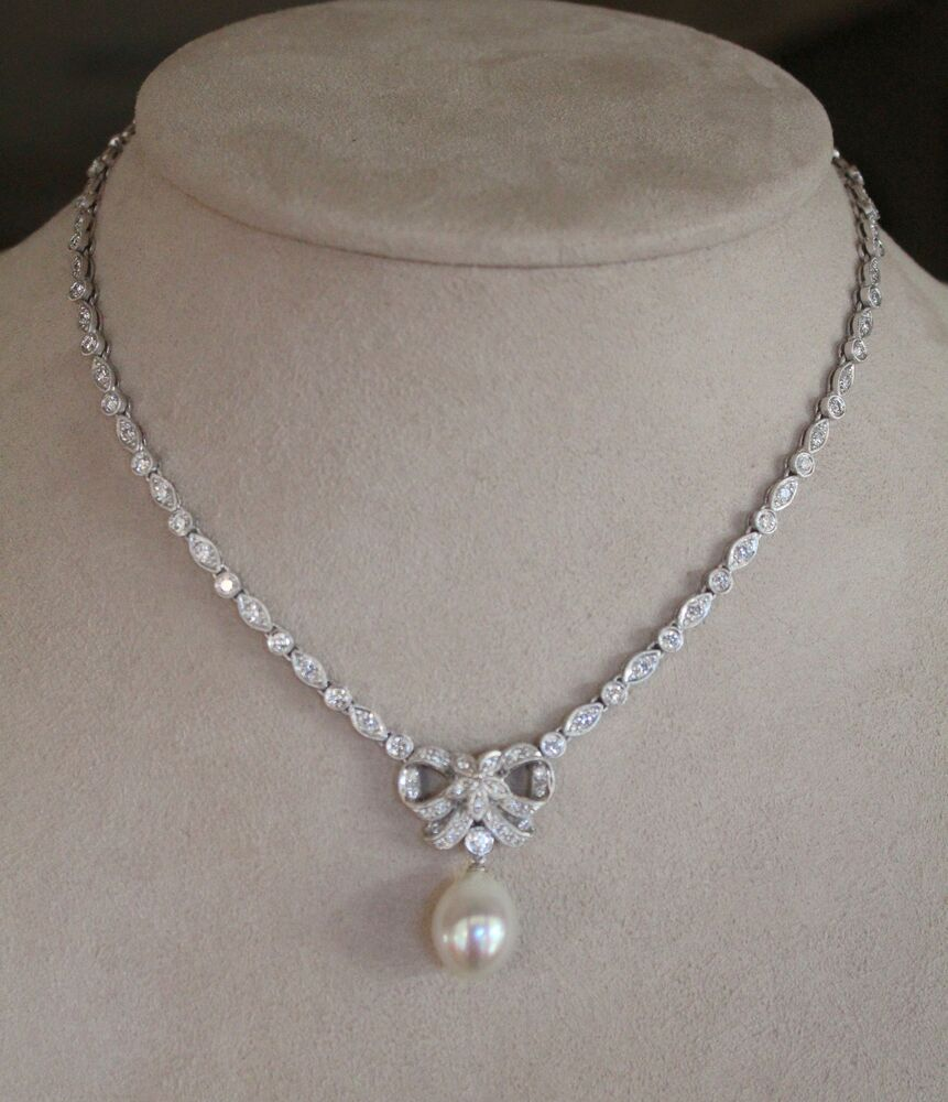 Pearl Platinum: Platinum, South Sea Pearl & Diamond Necklace- 16""