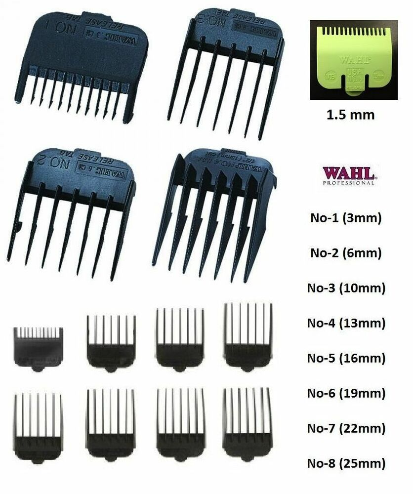 attachment plastic combs for wahl hair clippers number 1 2 3 4 5 6 7 8 ebay. Black Bedroom Furniture Sets. Home Design Ideas