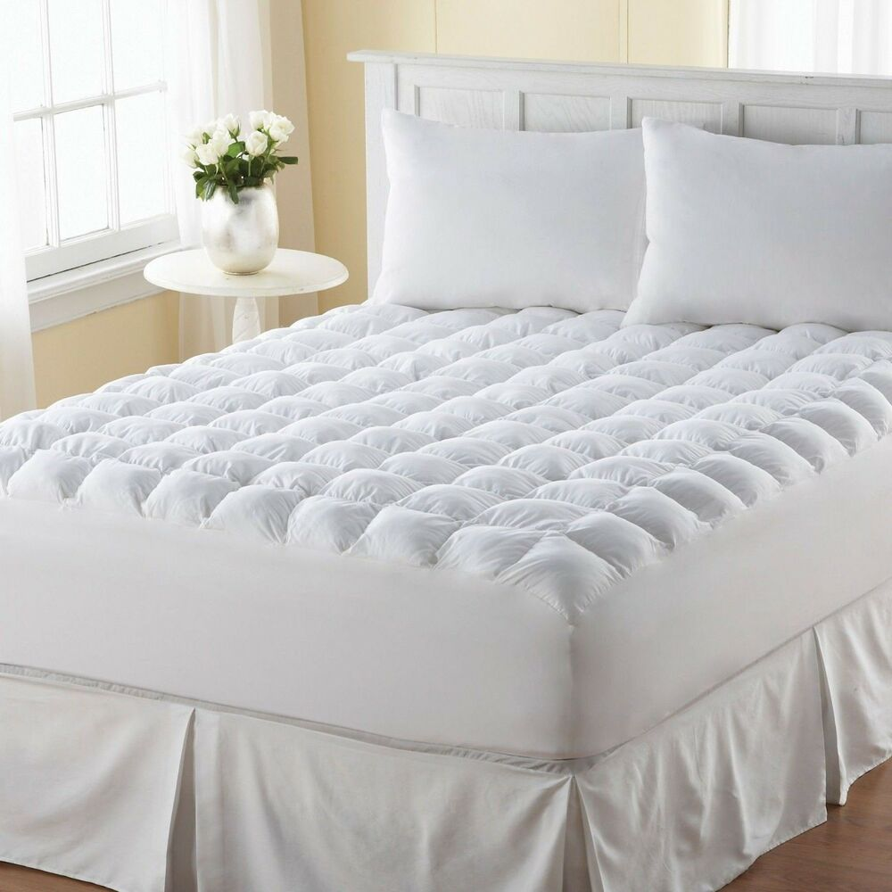pillow top mattress topper queen size bed cover protector pad comfort bedding ebay. Black Bedroom Furniture Sets. Home Design Ideas