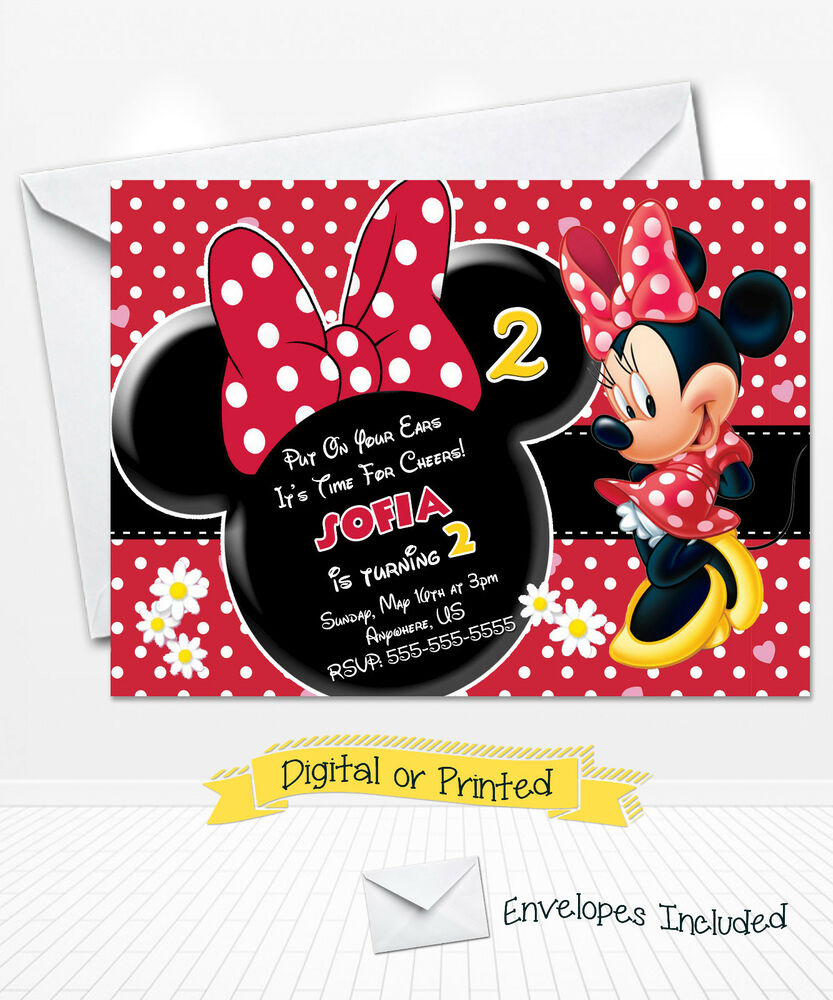 PRINTED Disney Minnie Mouse Birthday Invitations Red ...
