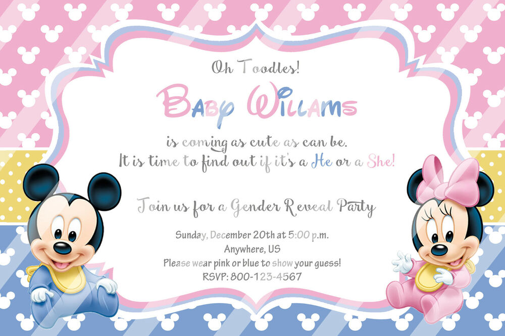 printed baby minnie mouse baby shower invitations gender