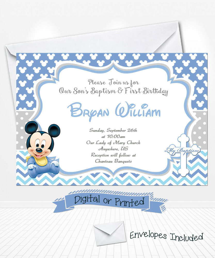 PRINTED Baby Mickey Birthday Invitations Mickey Baptism