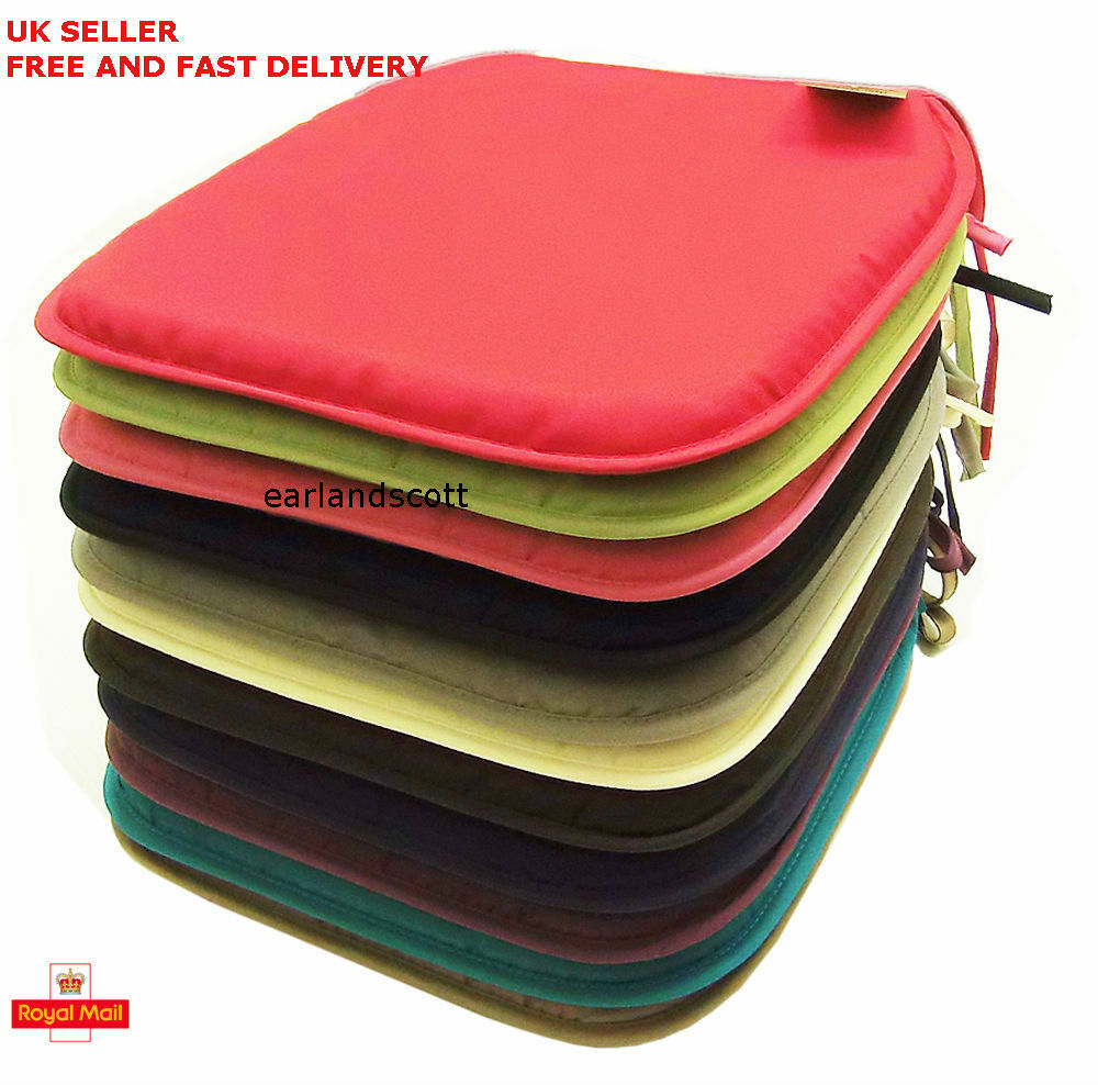seat pads plain coloured kitchen dining room tie on chair cushion ebay. Black Bedroom Furniture Sets. Home Design Ideas