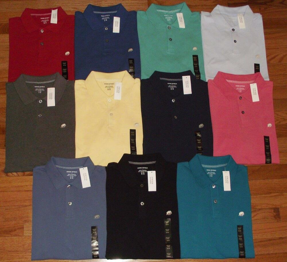 57d2ac010ce7b2 Details about NWT NEW Mens Banana Republic Pique Polo Shirt Elephant Logo  Choice of 16 Colors