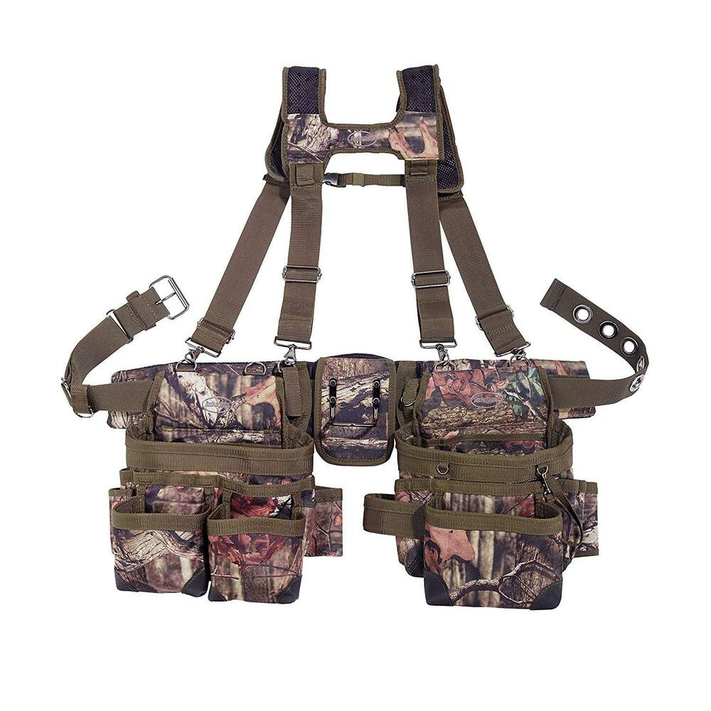 carpenter camo tool belt suspenders holder durable pouch pocket roofer work new