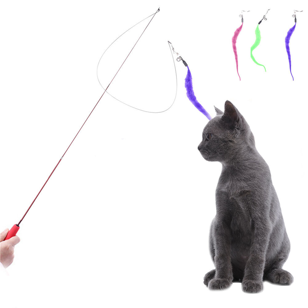 Retractable funny kitten play interactive toy cat teaser for Retractable cat wand