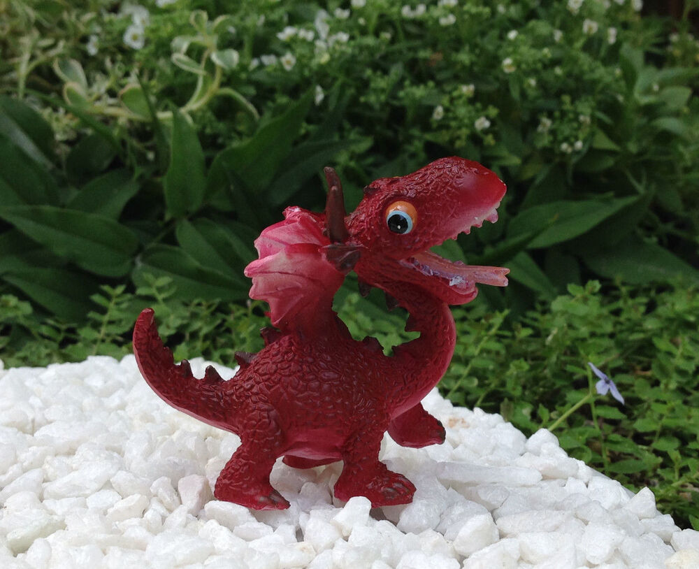 Miniature dollhouse fairy garden mini red dragon for Fairy garden figurines
