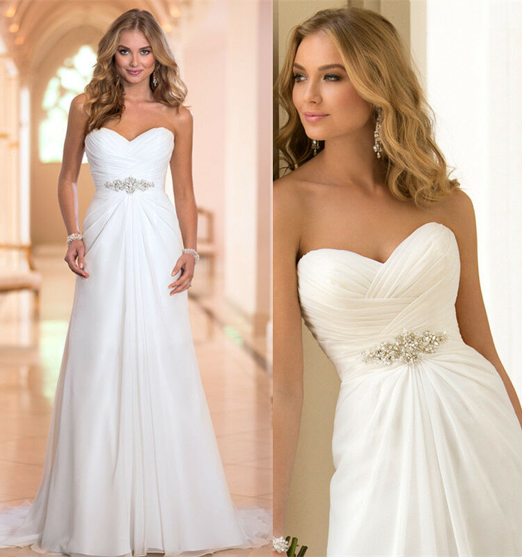 Beach Wedding Dresses Size 16 : White ivory chiffon beach wedding dress size
