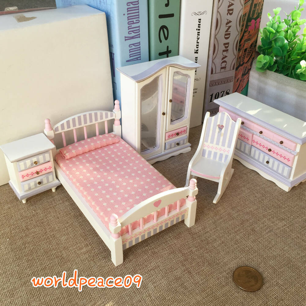 5pcs dollhouse miniature kids children bedroom set furniture 1 12